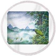 Rainforest Realm - St. Lucia Parrots Round Beach Towel