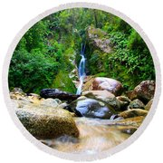 Rainforest Stream New Zealand Round Beach Towel
