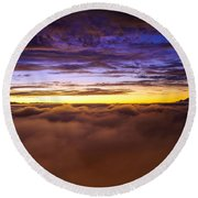 Rainier Above The Clouds Round Beach Towel