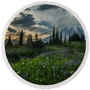 Rainier Abundance Of Flowers Round Beach Towel