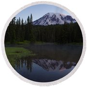 Rainier Awakening Round Beach Towel