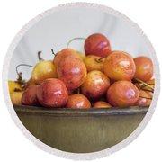 Rainier Cherries And Ceramic Bowl Round Beach Towel