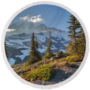 Rainier From Paradise Glacier Round Beach Towel