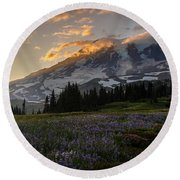 Rainier Purple Lupine Carpet Round Beach Towel