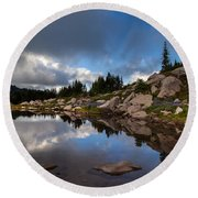 Rainier Spray Park Reflection Round Beach Towel