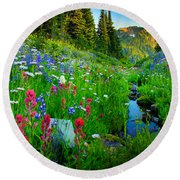 Rainier Wildflower Creek Round Beach Towel