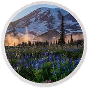 Rainier Wildflower Meadows Pano Round Beach Towel