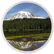 Rainier's Reflection Round Beach Towel