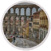 Rainy Afternoon In Segovia Round Beach Towel