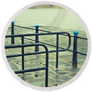 Rainy Day At The Sea Front Round Beach Towel
