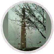Rainy Day At The Washington Monument Round Beach Towel