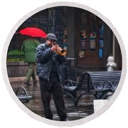 Rainy Day Blues New Orleans Round Beach Towel