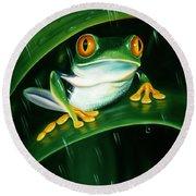 Rainy Day Frog Round Beach Towel