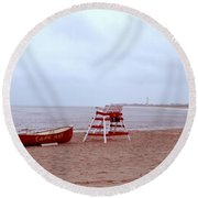 Rainy Day In Cape May Round Beach Towel
