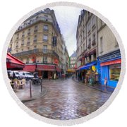 Rainy Day In Paris Round Beach Towel