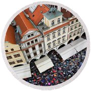 Rainy Day In Prague-2 Round Beach Towel