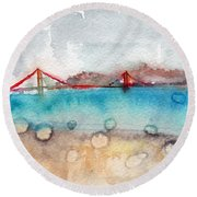 Rainy Day In San Francisco  Round Beach Towel by Linda Woods