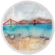 Rainy Day In San Francisco  Round Beach Towel