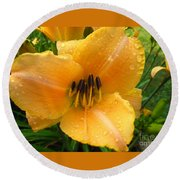 Rainy Day Lily Round Beach Towel