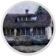 Rainy Day Long Ago House Round Beach Towel