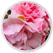 Rainy Day Roses Round Beach Towel