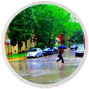 Rainy Days And Mondays Girl Running With The Blue Umbrella Montreal Art City Scenes Carole Spandau Round Beach Towel