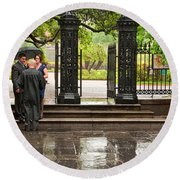 Rainy Destination Wedding In Jackson Square New Orleans Round Beach Towel