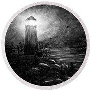 Rainy Night At The Lighthouse Round Beach Towel