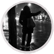 Rainy Night - Hailing A Cab Round Beach Towel