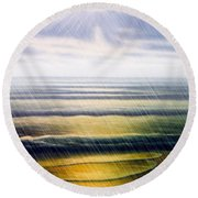 Rainy Seascape Round Beach Towel