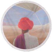 Rajasthan Farmer, 2012 Acrylic On Canvas Round Beach Towel