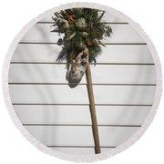 Rake And Wreath Round Beach Towel