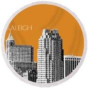 Raleigh Skyline - Dark Orange Round Beach Towel