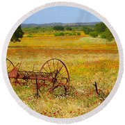 Ranch And Wildflowers And Old Implement 2am-110547 Round Beach Towel