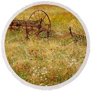 Ranch And Wildflowers And Old Implement 2am-110546 Round Beach Towel