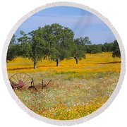 Ranch And Wildflowers And Old Implement 2am-110556 Round Beach Towel