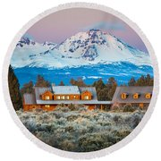 Ranch House And Sisters Round Beach Towel