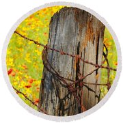 Ranch Wildflowers And Fence 2am-110532 Round Beach Towel