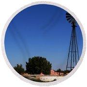 Ranch Windmill Round Beach Towel