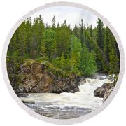 Rancheria Falls Along Alaska Highway In Yk-canada   Round Beach Towel
