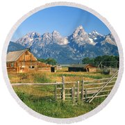 1m9392-ranchland And The Tetons Round Beach Towel