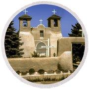 Ranchos De Taos Church Round Beach Towel
