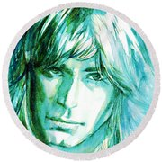 Randy Rhoads Portrait Round Beach Towel