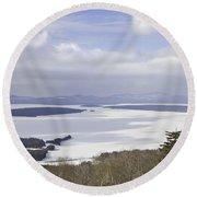 Rangeley Maine Winter Landscape Round Beach Towel