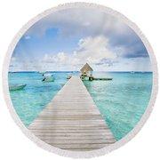 Rangiroa Atoll Pier On The Ocean Round Beach Towel