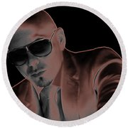 Rap Pitbull Round Beach Towel