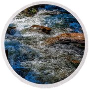 Rapids On The Gore Round Beach Towel