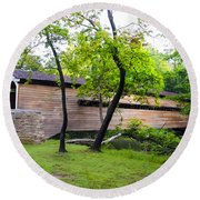 Rapps Covered Bridge Over French Creek Round Beach Towel