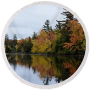Raquette River Reflections Round Beach Towel