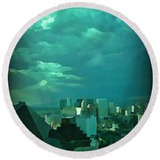 Rare Clouds Over Vegas Round Beach Towel